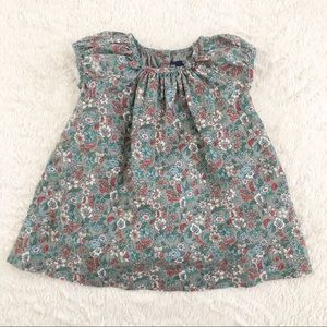 Baby Gap Gray Floral Dress with Cap Sleeves 6-12